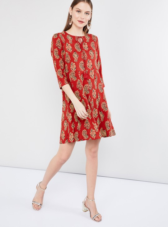 MAX Printed Shift Dress with Tassel Tie-Up
