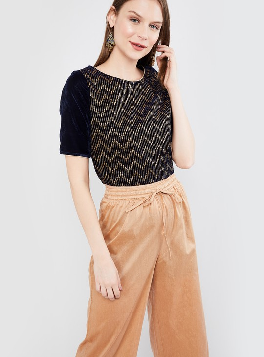 MAX Sequinned Round Neck Top