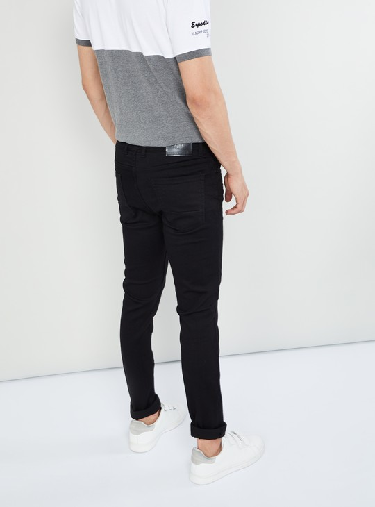 MAX Solid Whiskered Skinny Fit Jeans