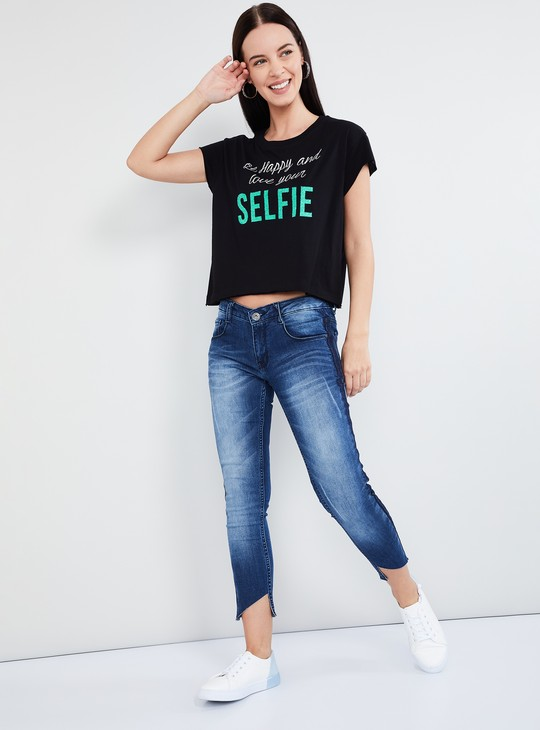 MAX Printed Round Neck Crop Top
