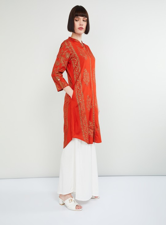 MAX Foil Print Rolled-Up Sleeves Kurta