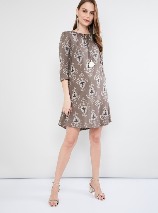 MAX Printed Shift Dress with Tasselled Tie-Up