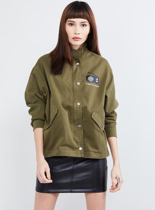 MAX Typographic Print Drop-Shoulder Jacket