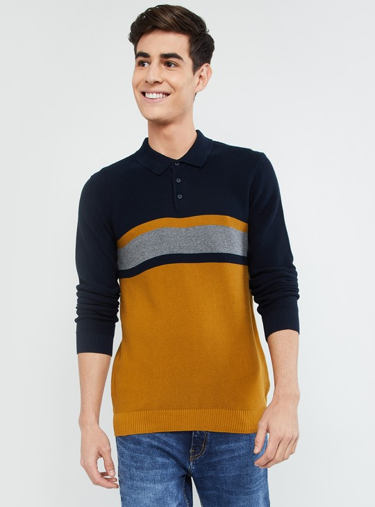 MAX Striped Full Sleeves Polo T-shirt