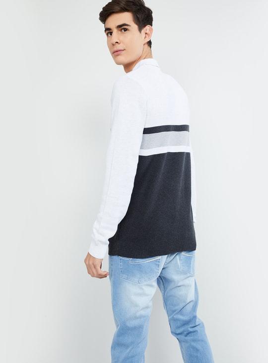 MAX Striped Full Sleeves Polo T-shirt