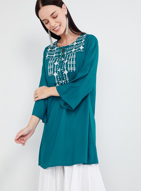 MAX Embroidered Three-quarter Sleeves Kurti