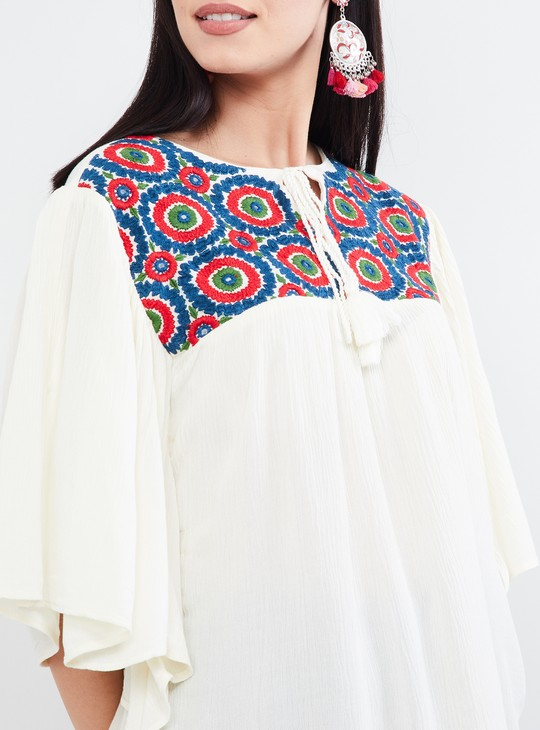 MAX Embroidered Tie-Up Neck Top
