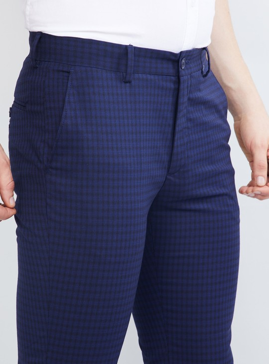 MAX Checked Flat-Front Trousers