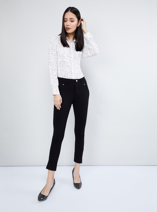 MAX Solid Panelled Cropped Pants
