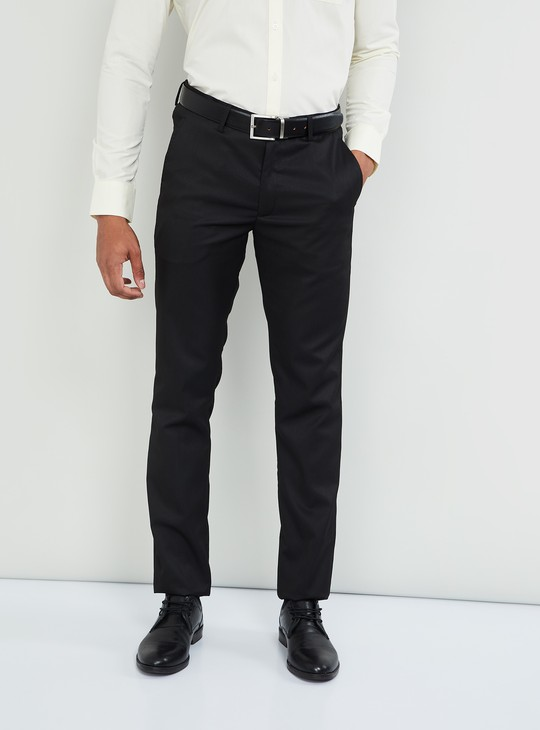MAX Solid Slim Fit Flat Front Trousers