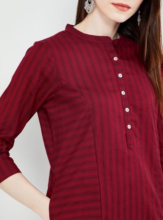 MAX Striped Rolled-Up Sleeves Kurta