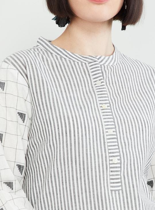 MAX Geometric Print Striped Straight Kurta