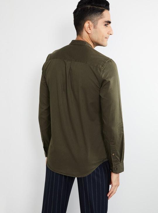 MAX Solid Full Sleeves Band Collar Shirt