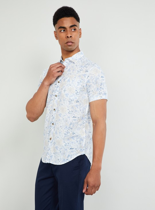 MAX Printed Short Sleeves Slim Fit Shirt
