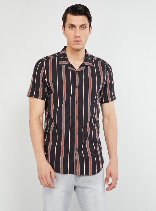 MAX Striped Short Sleeves Slim Fit Shirt
