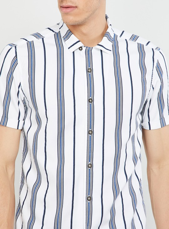 MAX Striped Short Sleeves Slim Fit Shirt