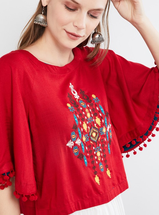 MAX Batwing Sleeves Embroidered Top with Pompoms