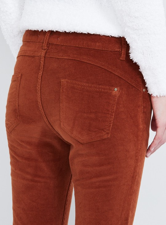 MAX Solid Skinny Fit Corduroy Trousers