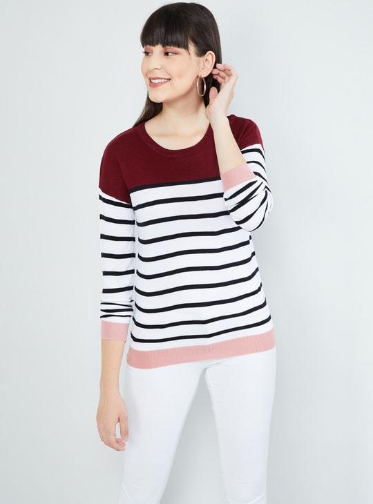 MAX Striped Colourblocked Sweater