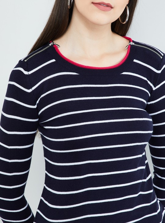 MAX Striped Flat-Knitted Full Sleeves Sweater