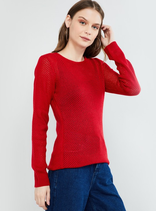 MAX Solid Knitted Round Neck Sweater