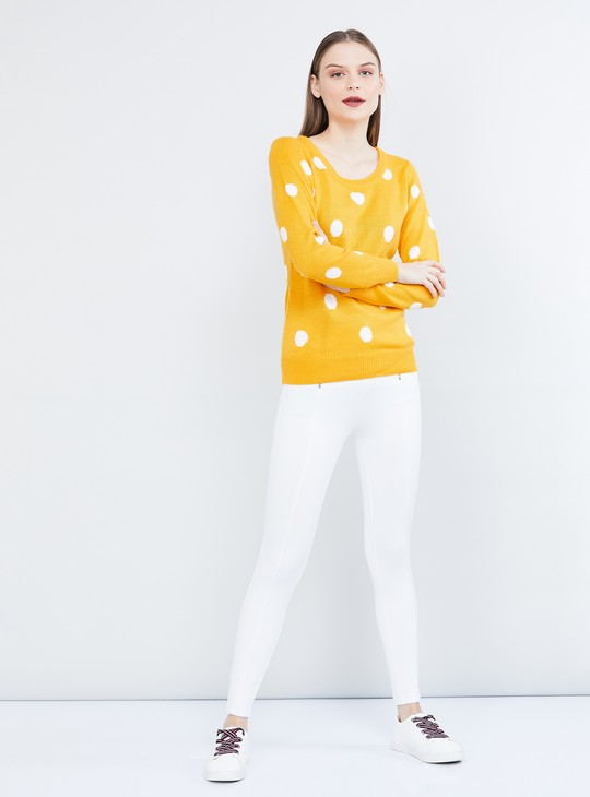 MAX Polka Dot Pattern Full Sleeves Sweater