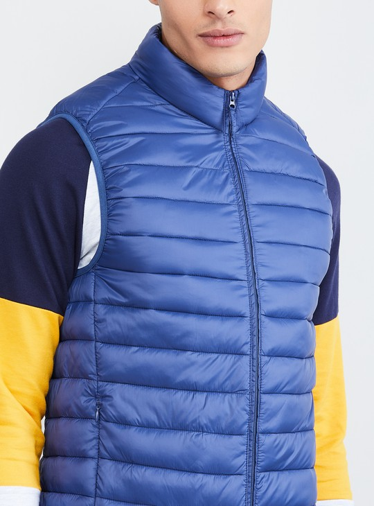 MAX Solid Sleeveless Quilted Jacket