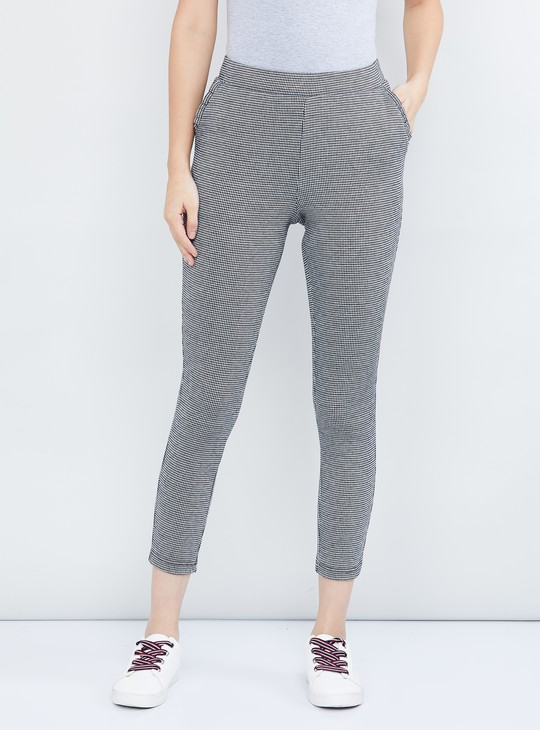 MAX Houndstooth Textured Cropped Treggings