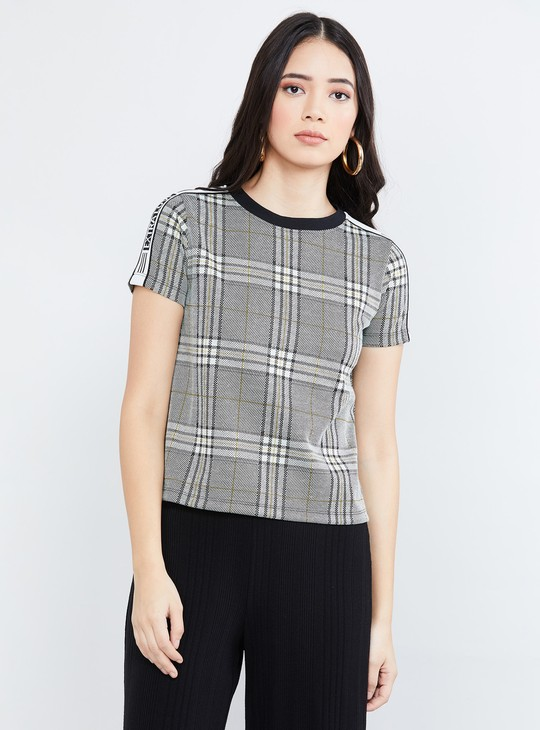 MAX Checked Cap Sleeves T-shirt