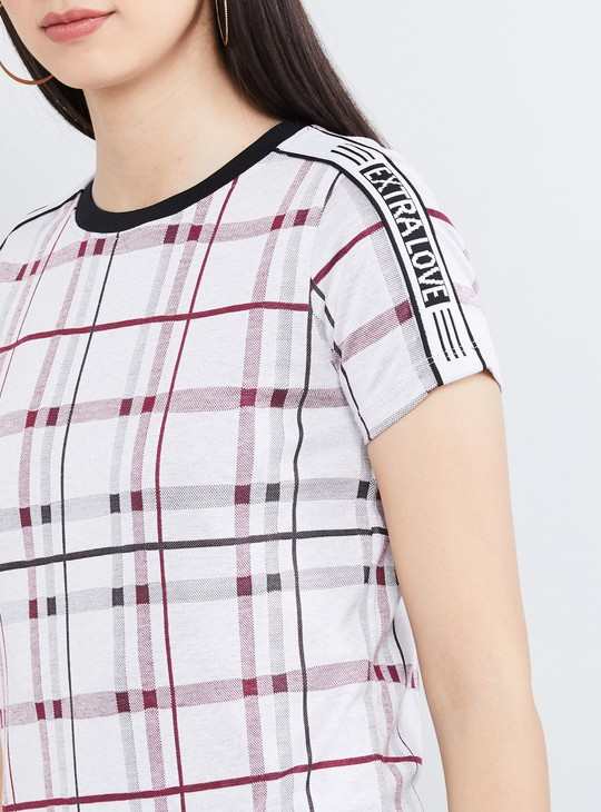 MAX Checked Cap Sleeves T-shirt