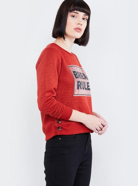 MAX Typographic Print Full Sleeves T-shirt