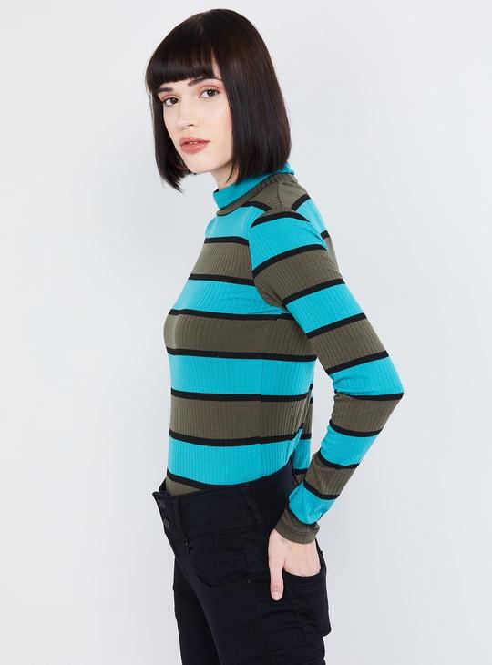 MAX Striped High-Neck Pullover