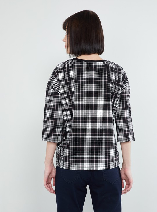 MAX Checked Threee-quarter Sleeves Top