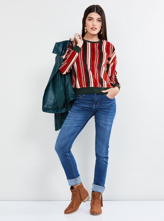 MAX Striped Full Sleeves Sweatshirt