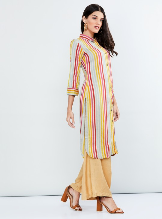 MAX Roll-Up Sleeves Striped Shirt Kurta