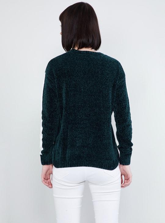 MAX Textured Typographic Print Drop-Shoulder Sweater