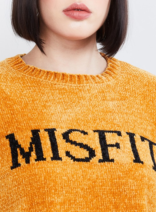 MAX Textured Typographic Print Drop-Shoulder Sweater