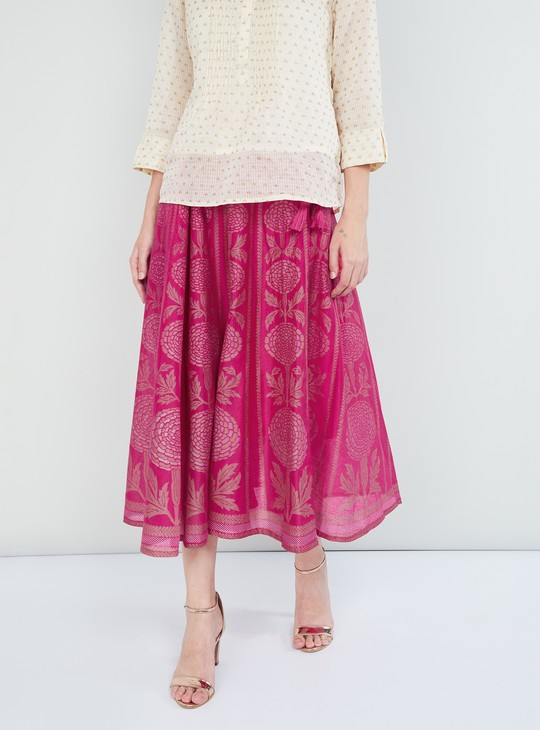 MAX Printed Drawstring Waist Skirt