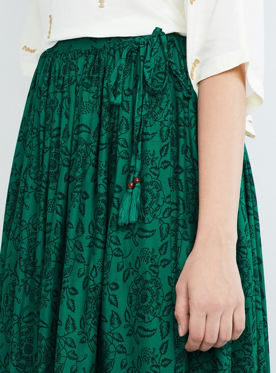 MAX Printed Flared Midi Skirt