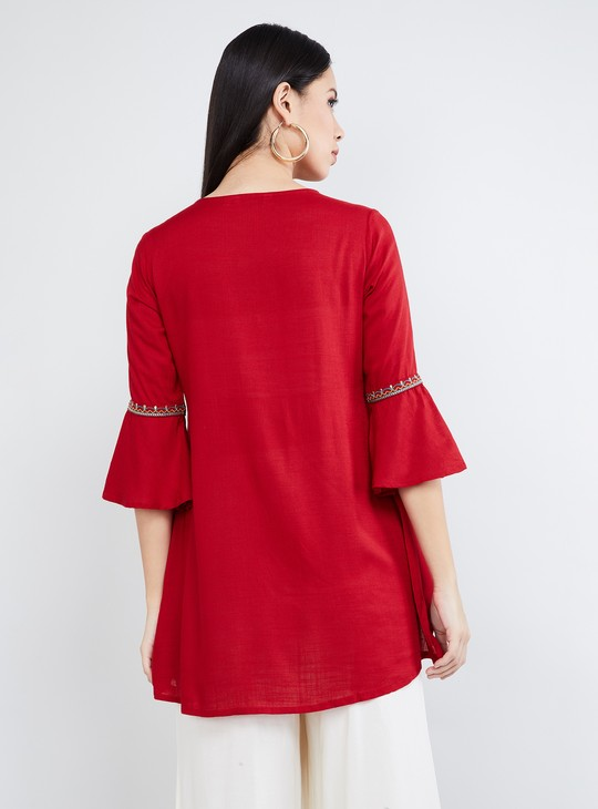 MAX Bell Sleeves Tunic with Floral Embroidery