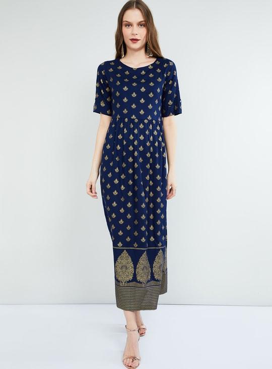 MAX Foil Print Short Sleeves Maxi Dress