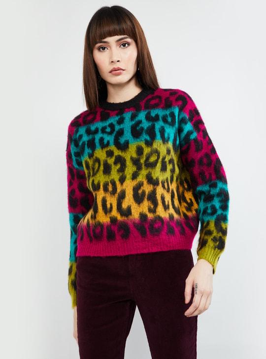 MAX Printed Round Neck Sweater