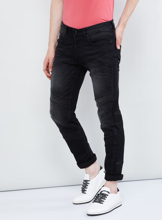 MAX Textured Stonewashed Skinny Fit Jeans