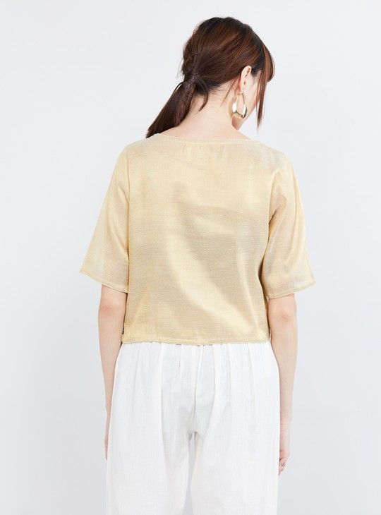 MAX Embroidered Half Sleeves Blouse