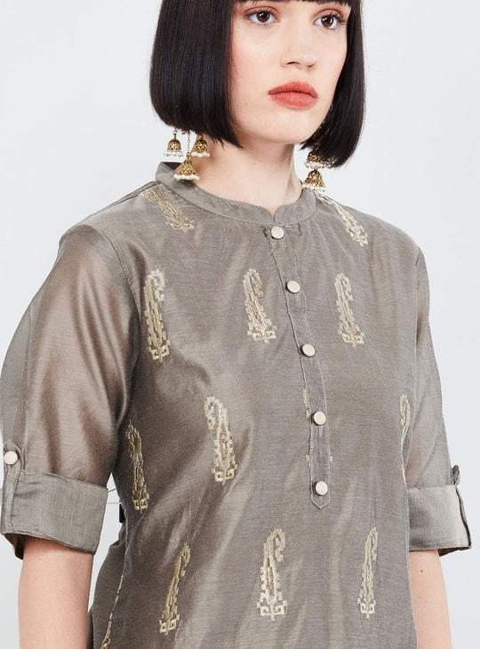 MAX Embroidered Band Collar Kurta