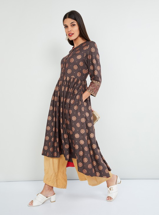MAX Printed Anarkali Kurta with Button Placket