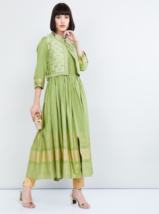 MAX Roll-Up Sleeves Flared Kurta with Printed Jacket