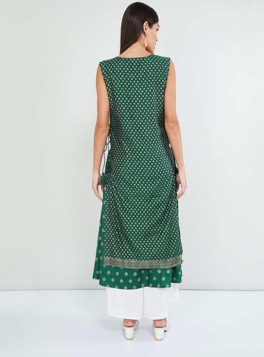 MAX Printed Sleeveless Layered Straight Kurta