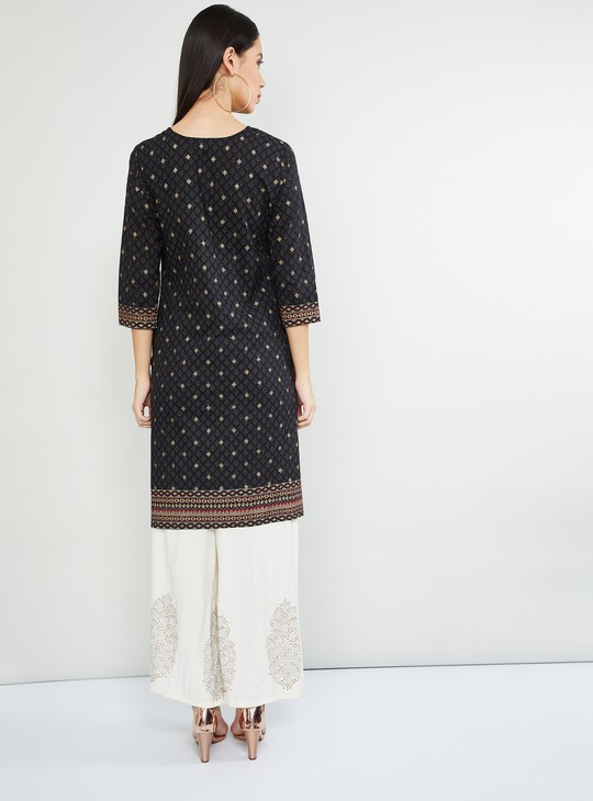 MAX Printed Three-quarter Sleeves A-line Kurta