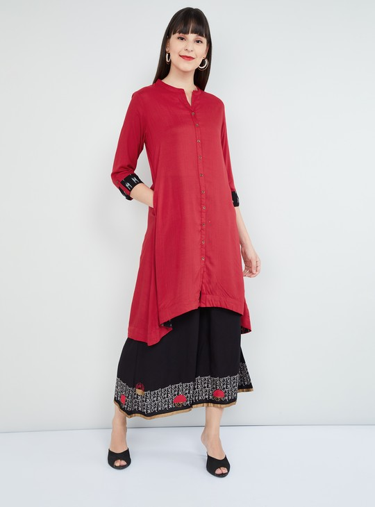 MAX Solid Dipped Hemline Kurta with Insert Pockets